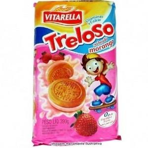Biscoito recheado Morango Treloso 390g