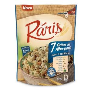 Arroz integral 7 grãos e alho poró Raris 500g
